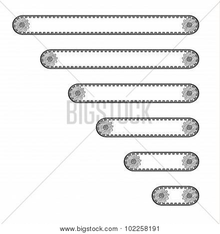 Six Conveyor Belts With Two Cogwheels