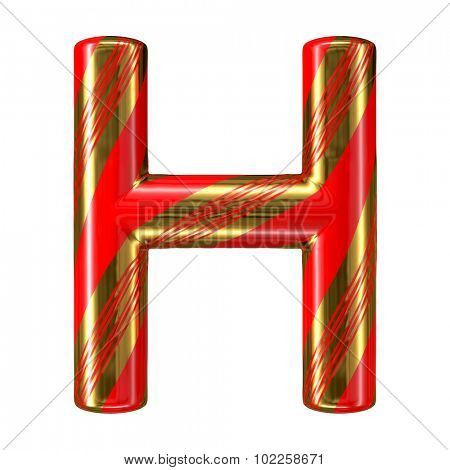 Mint hard candy cane 3d alphabet collection striped in Christmas colours. Letter H.