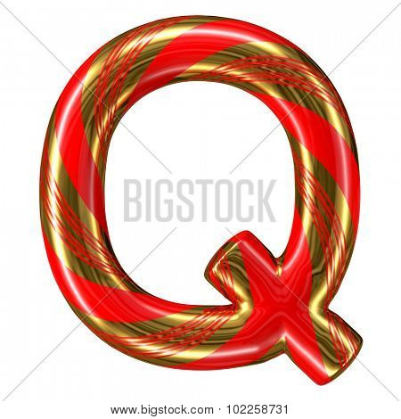 Mint hard candy cane 3d alphabet collection striped in Christmas colours. Letter Q.