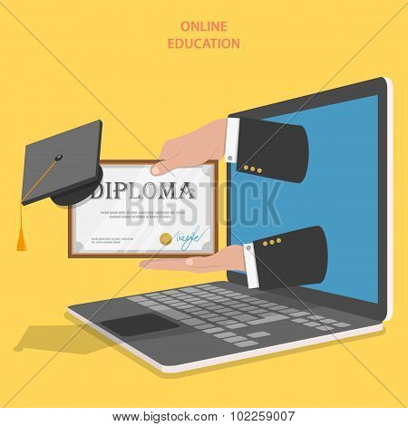 Online education flat vector concept.