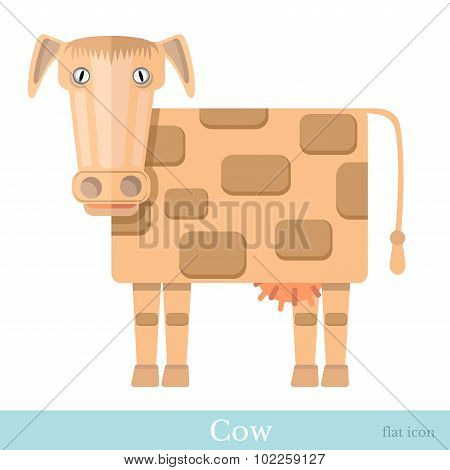 flat icon cow kine isolated on white