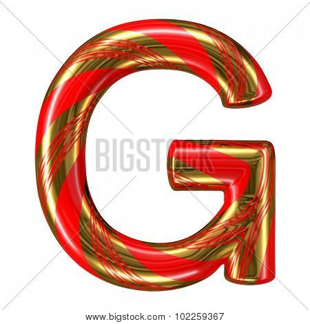 Mint hard candy cane 3d alphabet collection striped in Christmas colours. Letter G.