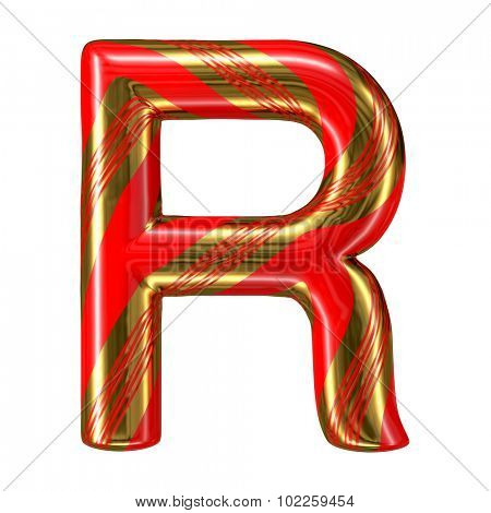 Mint hard candy cane 3d alphabet collection striped in Christmas colours. Letter R.