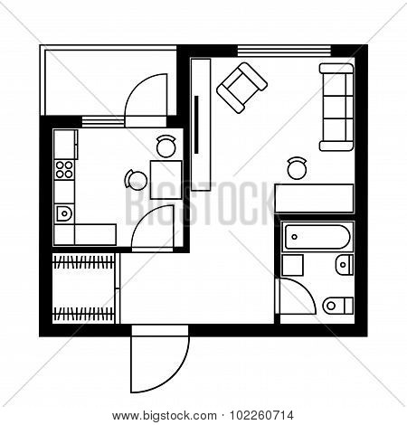 Floor Plan of a House with Furniture. Vector