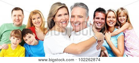 Happy smiling family portrait isolated on white background.