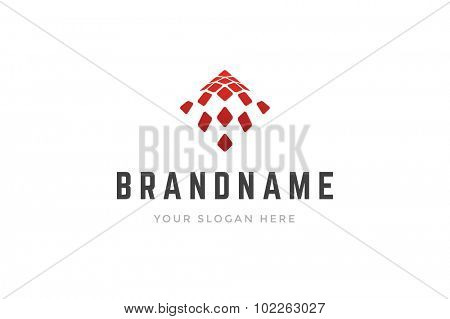 Abstract creative logo 3d geometric squares shape. Vector design element.