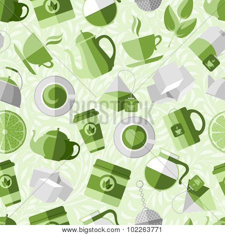 Seamless pattern with tea elements. Trendy flat style. Vector illustration - easy to use and editing.