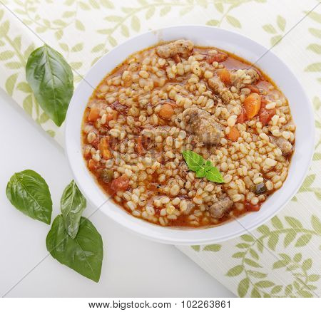 Barley Soup with Beef and Vegetables