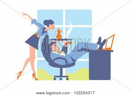 Concept of office life. Office people vector. Business concept. Office worker. Office relationship. Business people in office interior. Lifestyle concept. Office bustle. Cartoon illustration of office people life. Abstract business concept. Office life.