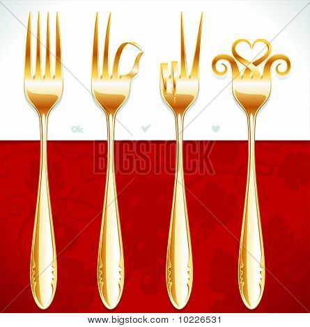 Vector golden fork gestures