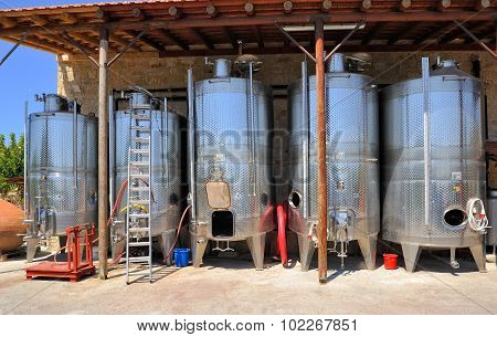 Wine tanks winery Ktima Gerolemo Winery & Vineyards