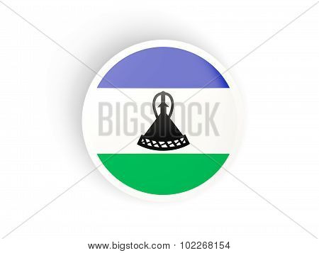 Round Sticker With Flag Of Lesotho