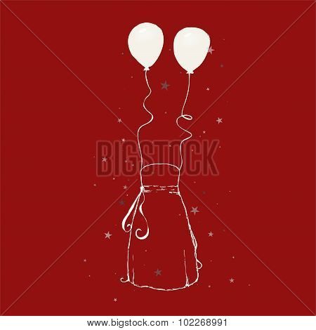 Sketch - long blouse + balloons