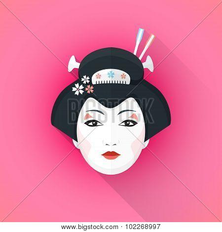 Colored Flat Style Geisha Face Illustration.