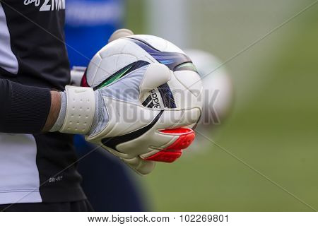 Goal Keeper Of Paok With The Ball In His Hands During The Team's Training Session, In Thessaloniki,