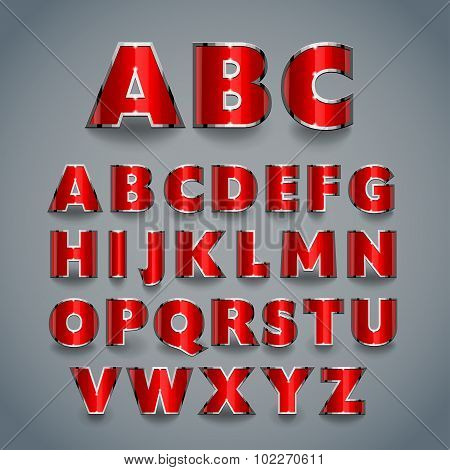 Shiny Red Font. Alphabet Design.