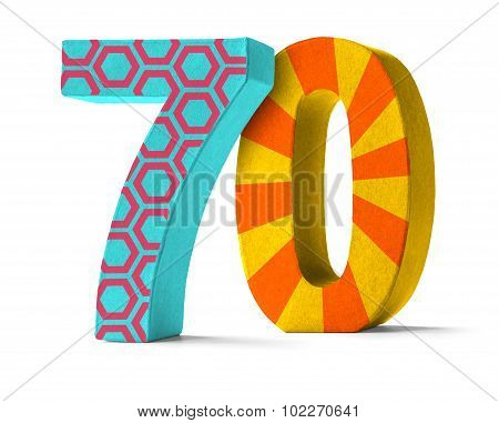 Colorful Paper Mache Number On A White Background  - Number 70