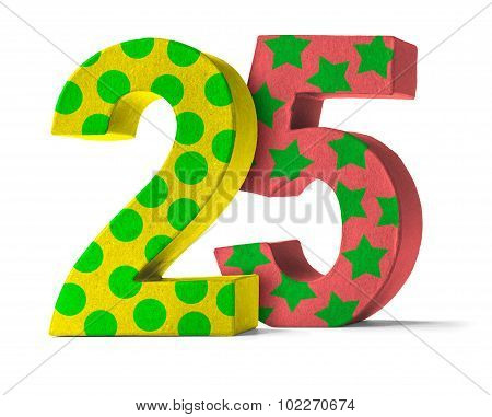 Colorful Paper Mache Number On A White Background  - Number 25