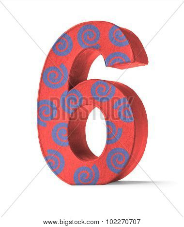 Colorful Paper Mache Number On A White Background  - Number 6