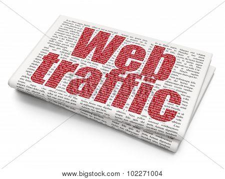 Web design concept: Web Traffic on Newspaper background