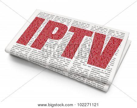 Web development concept: IPTV on Newspaper background