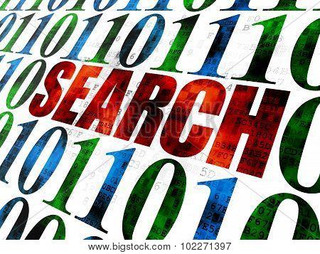 Web development concept: Search on Digital background