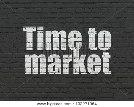 Timeline concept: Time to Market on wall background