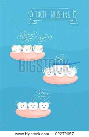 teeth comics about brushing, vector
