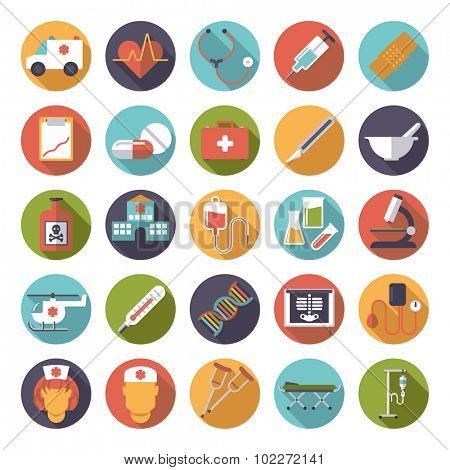 Medicine and Health Care Vector Icon Collection. Set of 25 medical and healthcare related icons in circles, flat design, long shadow