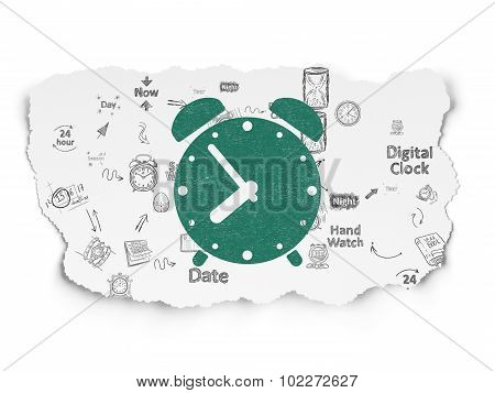 Timeline concept: Alarm Clock on Torn Paper background