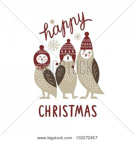Christmas card, three cute owls