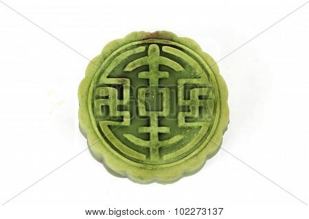 Moon Cake With Matcha & Red Bean Filling On White Background