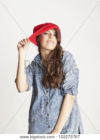 young cheerful brunette teenage girl on white background