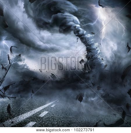 Powerful Tornado - Dramatic Destruction On The Road