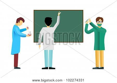 Science laboratory school university vector people set. People science isolated silhouette. Chemist Medical Doctor, Scientist, Teacher. Laboratory, science, research, biologist, school, test, flask