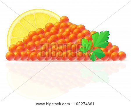 Red Caviar With Lemon And Parsley Vector Illustration