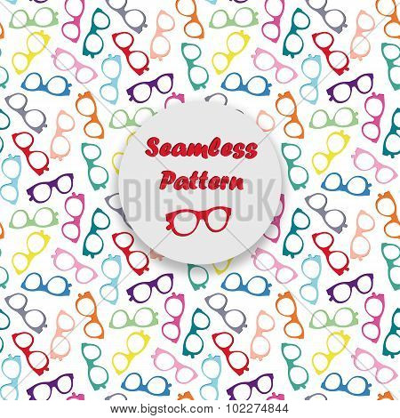 Colorful glasses seamless vector pattern