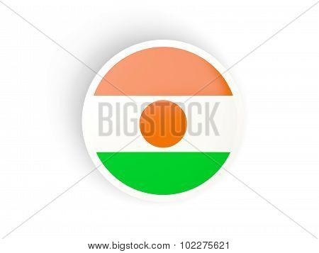 Round Sticker With Flag Of Niger