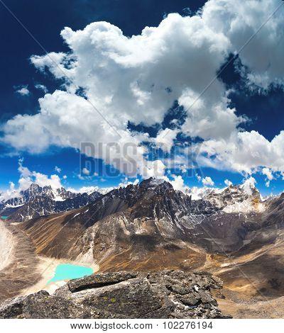 Beautiful turquoise lake high in the mountains. Nepal,  Gokyo Lakes