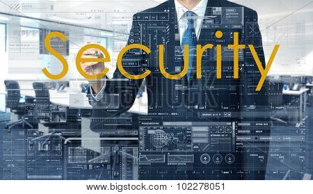 Businessman Writing On Transparent Board Security With Office In Background
