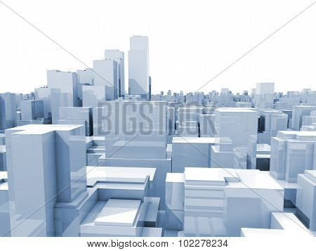 Abstract Digital White Cityscape 3D Illustration