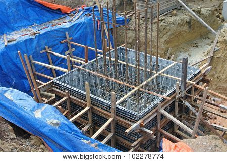 Pile cap formwork made from polymer at the construction site.