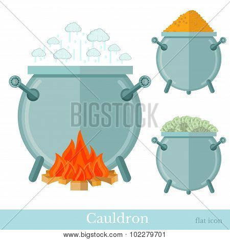 flat caldron with money coin bank note bonfire isolated on white