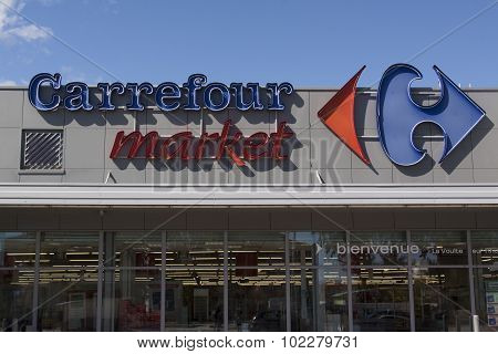 Facade Of The Carrefour Market In La Voulte Sur Rhone