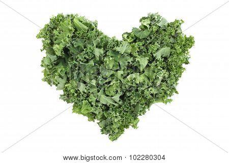 Shredded Kale In A Heart Shape