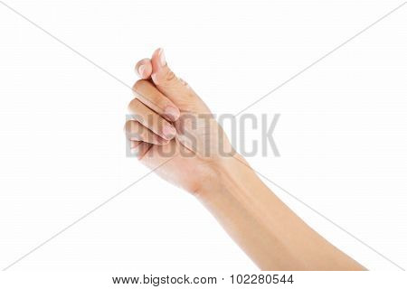 Woman Hands On White Background