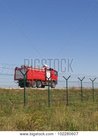 Red Fire Truck Going Fast