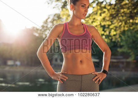 Woman Takes A Break After Running