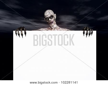 3D render of a zombie figure holding a blank sign