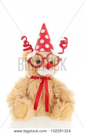 Funny Stuffed Christmas  bear isolated over white background